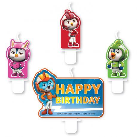 4 Bougies assortis Top Wing pour la décoration d'un gâteau d'anniversaire
