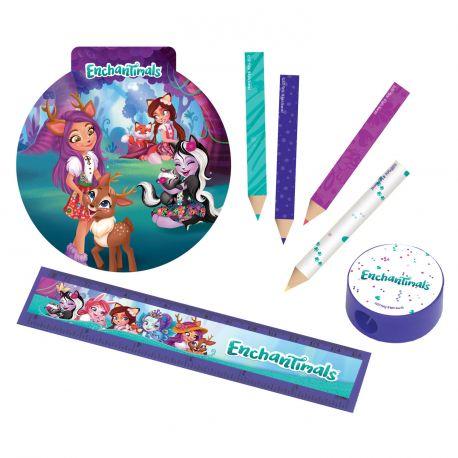 Kit papeterie idéal pour 4 enfants, sur le thème de Enchantimals !Contient 16 pièces: 4 règles, 4 crayons, 4 carnets et 4 tailles...
