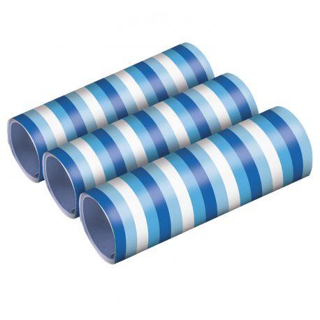 3 Rouleaux de serpentins dans les tons de bleu pour faire la fêteDimensions: 54 petits rouleaux de 4 mètres x 0.7cm de large