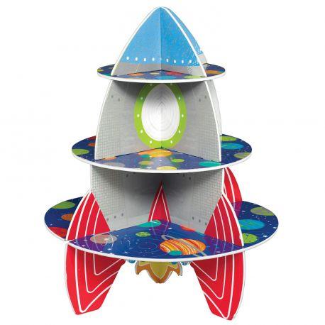Superbe présentoir à gâteaux en forme de fusée comprenant 3 étages, il sera parfait pour vos gouter de l'espaceDimensions : 40cm x...