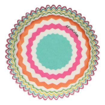 48 Caissettes chevrons colorés Funcakes