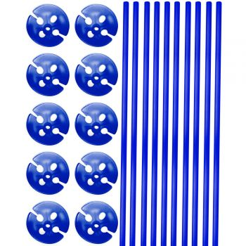 10 Tiges à ballons bleu 40cm