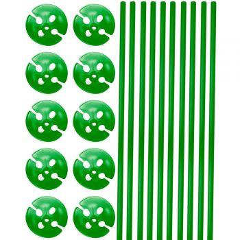 10 Tiges à ballons verte 40cm