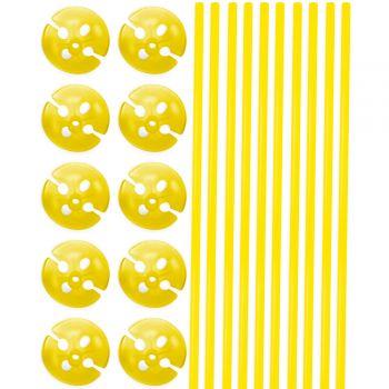 10 Tiges à ballons jaune 40cm