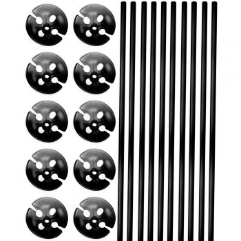 10 Tiges à ballons noire 40cm