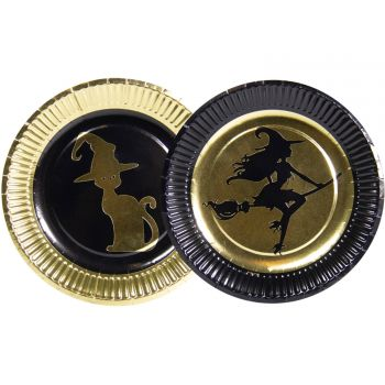 8 Assiettes gold witch