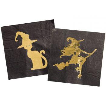 20 Serviettes gold witch