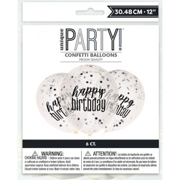 6 Ballons confettis Happy birthday black