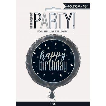 Ballon hélium Happy birthday glitz black