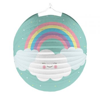 Lanterne en papier ronde nuage rainbow