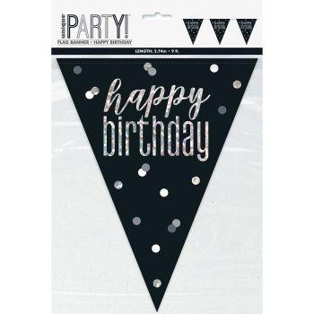 Guirlande de fanions Happy birthday glitz black
