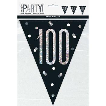 Guirlande de fanions 100 glitz black