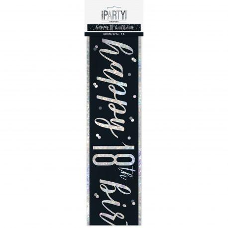 Banderole sérigraphié HAPPY BIRTDAY 18 de couleur irisé holographique pour une superbe décoration de fête d'anniversaire !Longueur...
