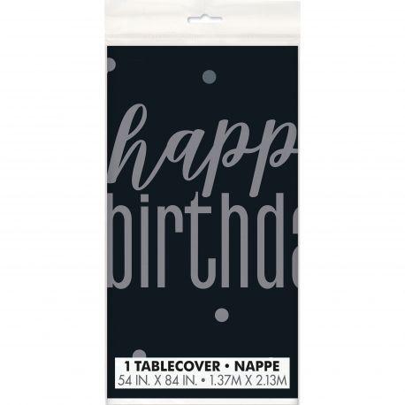 Nappe en plastique de couleur noir Happy birthday glitz black pour une belle décoration de table d'anniversaireDimensions : 137cm x...