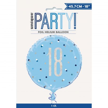 Ballon en aluminium sérigraphié 18 de couleur irisé holographique et bleu, ces ballons sont ultra tendance !Peut être gonflé à...