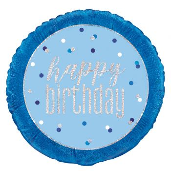 Ballon hélium Happy birthday glitz bleu