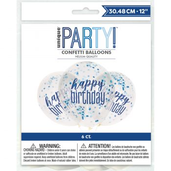 6 Ballons confettis Happy birthday glitz bleu