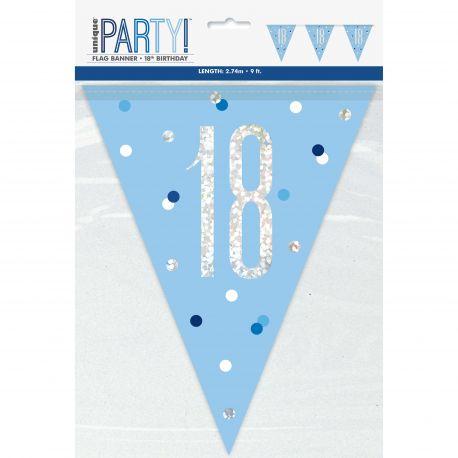 Guirlande de fanions sérigraphié 18 de couleur bleu irisé holographique pour une superbe décoration de fête d'anniversaire !Longueur...