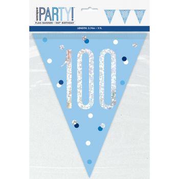 Guirlande de fanions 100 glitz bleu