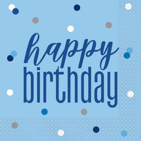 16 Serviettes en papier de couleur bleu Happy birthday pour une belle décoration de table d'anniversaireDimensions : ouverte 33cm x...