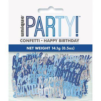 Confettis métallisés Happy birthday glitz bleu