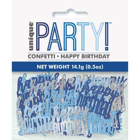 Confettis métallisés Happy Birthday bleu et argent pour une belle décoration de table d'anniversairePoids 14gr