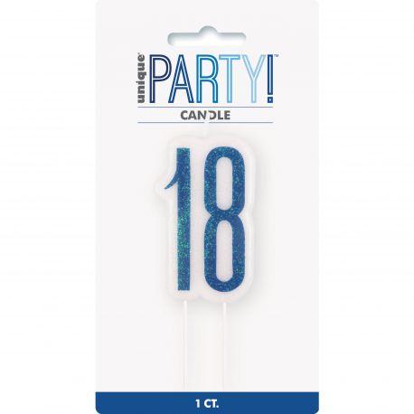 Bougie chiffre 18 glitz bleu pour une belle décoration de gâteau d'anniversaire
