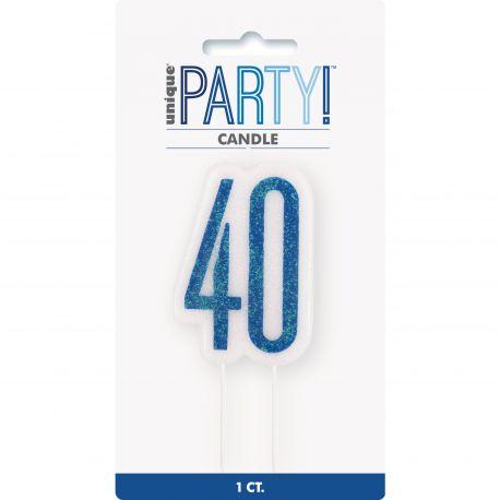 Bougie chiffre 40 glitz bleu pour une belle décoration de gâteau d'anniversaire