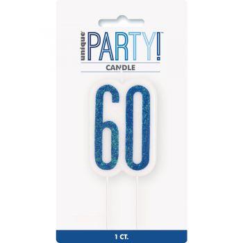 Bougie chiffre 60 glitz bleu