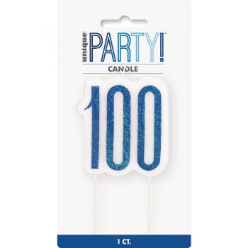Bougie chiffre 100 glitz bleu