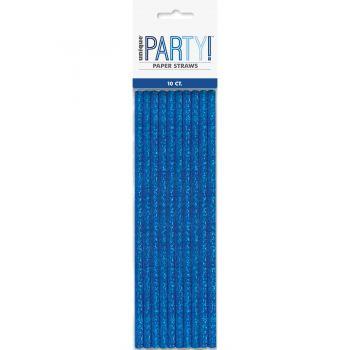 10 Pailles papier holographique bleu