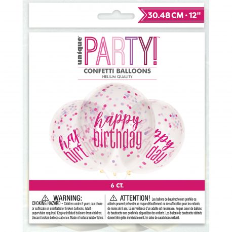 6 Ballons transparent sérigraphié HAPPY BIRTDAY en rose en latex rempli de confettis en papier rose, blanc..., ces ballons sont ultra...