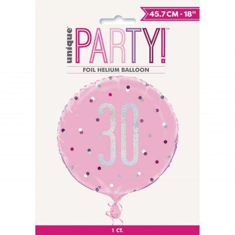 Ballon en aluminium sérigraphié 30 de couleur irisé holographique et rose, ces ballons sont ultra tendance !Peut être gonflé à...