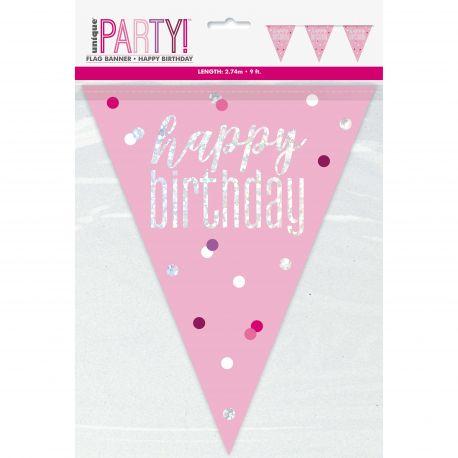 Guirlande de fanions sérigraphié HAPPY BIRTDAY de couleur irisé holographique pour une superbe décoration de fête d'anniversaire...