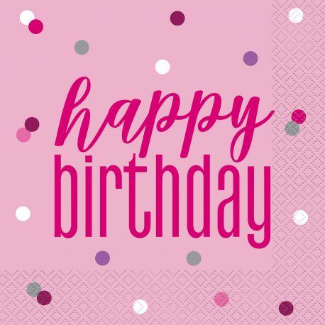 16 Serviettes en papier de couleur rose Happy birthday glitz rose pour une belle décoration de table d'anniversaireDimensions :...