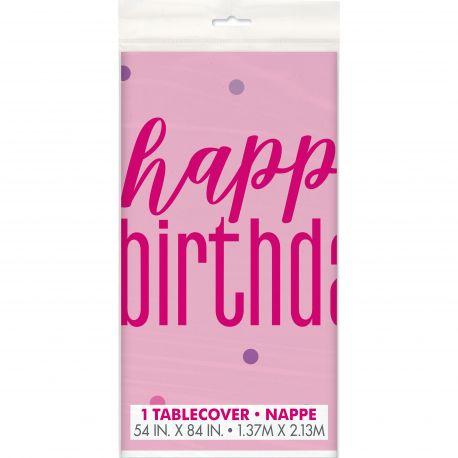 Nappe en plastique de couleur rose Happy birthday glitz rose pour une belle décoration de table d'anniversaireDimensions : 137cm x...