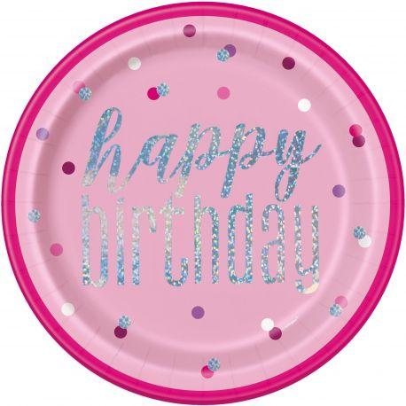 8 Assiettes de couleur rose Happy birthday effet holographique glitz rose pour une belle décoration de table...