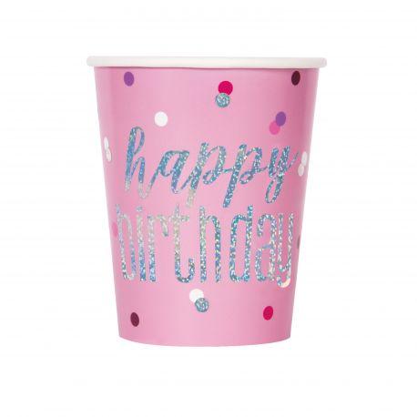 8 Gobelets de couleur rose en carton inscription Happy birthday effet holographique glitz rose pour une belle décoration de table...