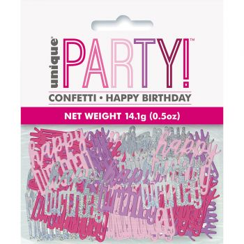 Confettis métallisés Happy birthday glitz rose