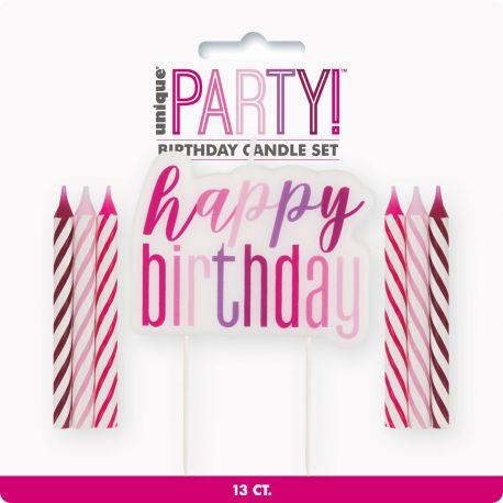 Kit 13 bougies Happy Birthday glitz rose pour une belle décoration de gâteau d'anniversaireContient 12 bougies et 1 bougie Happy...