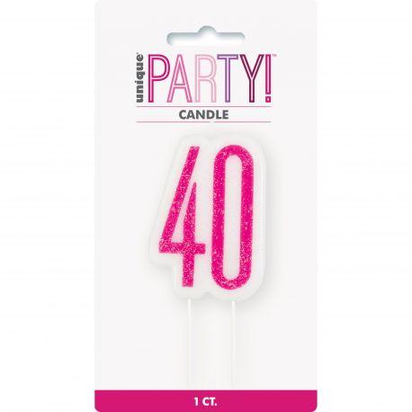 Bougie chiffre 40 glitz rose pour une belle décoration de gâteau d'anniversaire