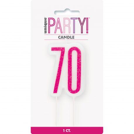 Bougie chiffre 70 glitz rose pour une belle décoration de gâteau d'anniversaire