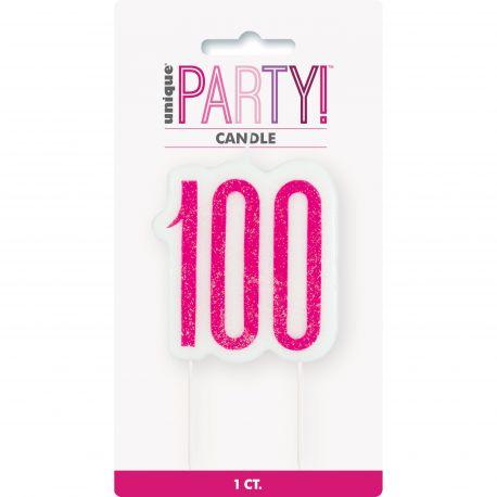 Bougie chiffre 100 glitz rose pour une belle décoration de gâteau d'anniversaire