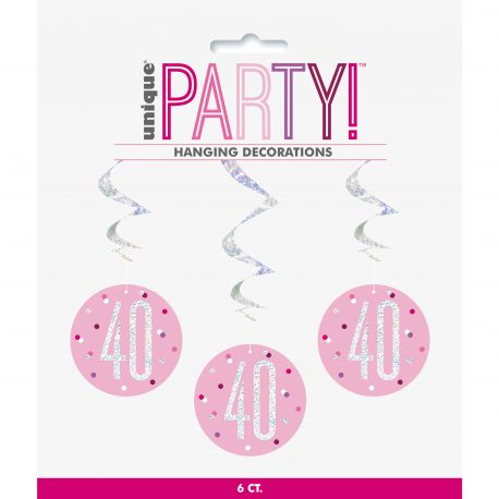 6 guirlandes swirl rose sérigraphié HAPPY BIRTDAY de couleur irisé holographique pour une superbe décoration de fête d'anniversaire !