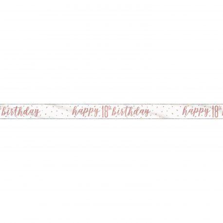 Banderole sérigraphié HAPPY BIRTDAY 18 de couleur irisé holographique pour une superbe décoration de fête d'anniversaire !Longueur 274cm