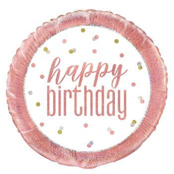 Ballon hélium Happy birthday glitz gold rose