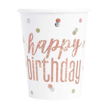 8 Gobelets Happy birthday holographique glitz gold rose