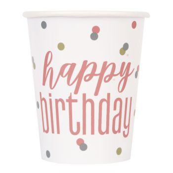 8 Gobelets Happy birthday glitz gold rose