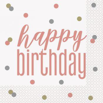 16 Serviettes Happy birthday glitz rose