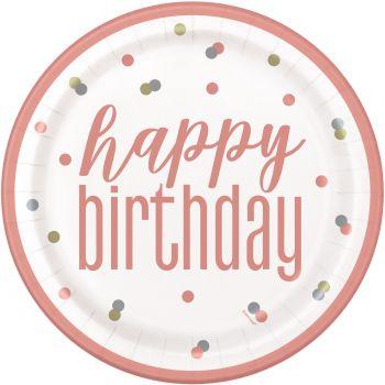 8 Assiettes Happy birthday glitz rose